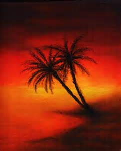 Oil Pastel Drawings with Palm Trees