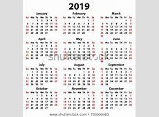 「Calendar 2019 Year Simple Style White」のベクター画像素材(ロイヤリティフリー