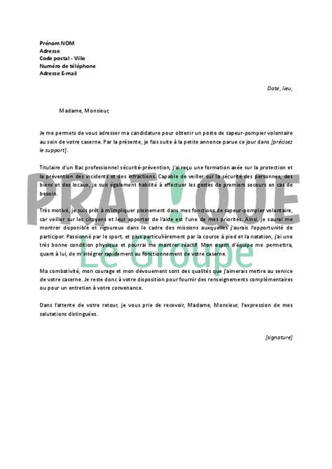 lettre de motivation pour un emploi de sapeur pompier volontaire d 233 butant pratique fr