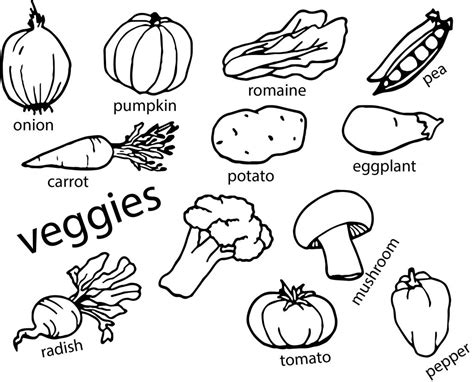 vegetables coloring page wecoloringpagecom