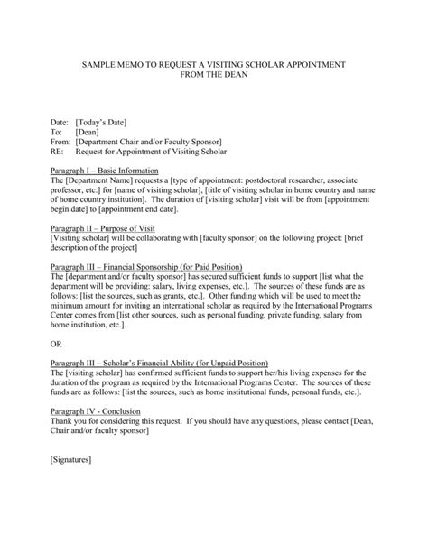 sample memo  request  visiting scholar appointment