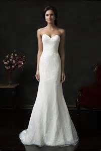 court wedding dress simple mermaid strapless tulle lace wedding dress court