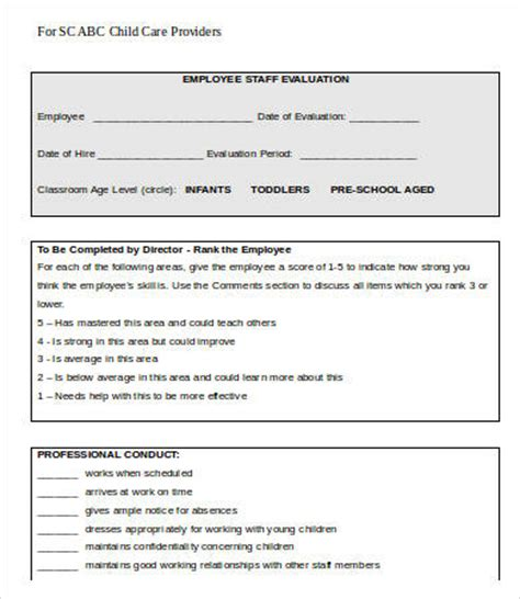 employee evaluation form template   word