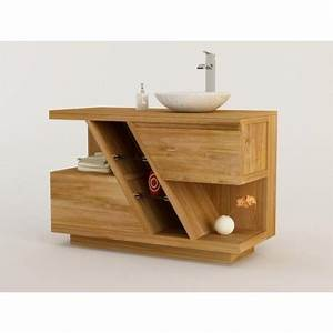 meuble teck salle de bain diagonal a simple vasque a poser With salle de bain design avec meuble salle de bain vasque pierre naturelle