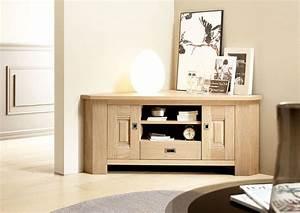 Meuble En Angle : acheter votre meuble t l contemporain d 39 angle en ch ne ~ Edinachiropracticcenter.com Idées de Décoration