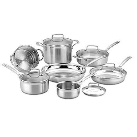 cuisinart  piece tri ply cookware set multi stainless steel walmartcom
