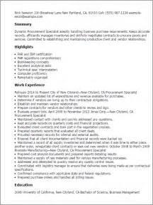 resume template for procurement manager resume sle procurement manager