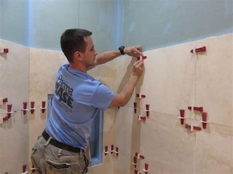 part  travertine tiles installation  shower walls