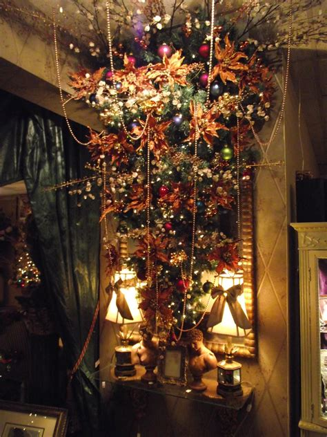 upside  christmas tree  cherry blossoms  copper
