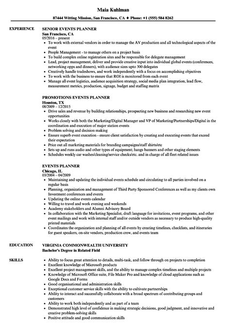 Event Planning Resume by Event Planner Resume Ipasphoto