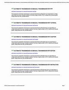 Automatic Transmission Vs Manual Transmission Pdf By