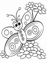Coloring Butterfly Pages Flower sketch template