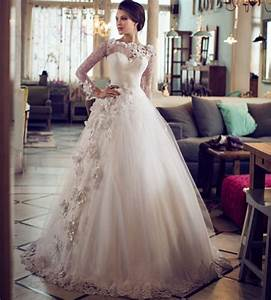 Aliexpresscom buy puffy lace bridal long sleeve ball for Flower lace wedding dress