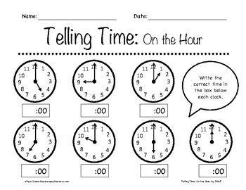 telling time   hour worksheets   grade