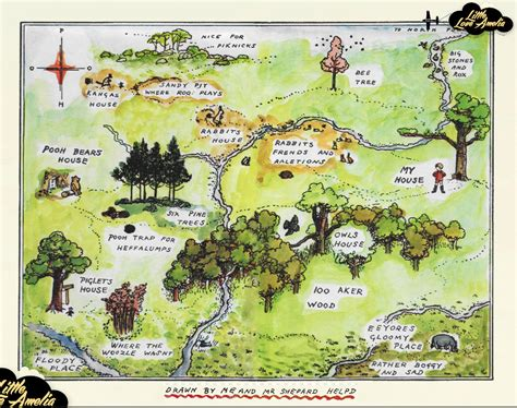 Winnie The Pooh Wall Art Hundred Acre Wood Map By