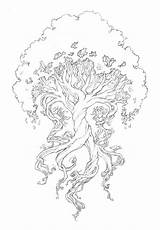 Tattoo Yggdrasil Wyrd Third Coloring Tree Adult Printable Cool Drawing Adults Sketches Twisted Sketch Celtic Norse Pretty Roots Awesome Trees sketch template