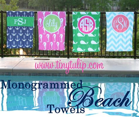 personalized beach towel monogrammed tinytulipcom    personalization gifts