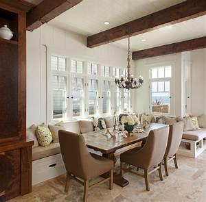 Superb Cozy Dining Room With Long Banquette Seating For
