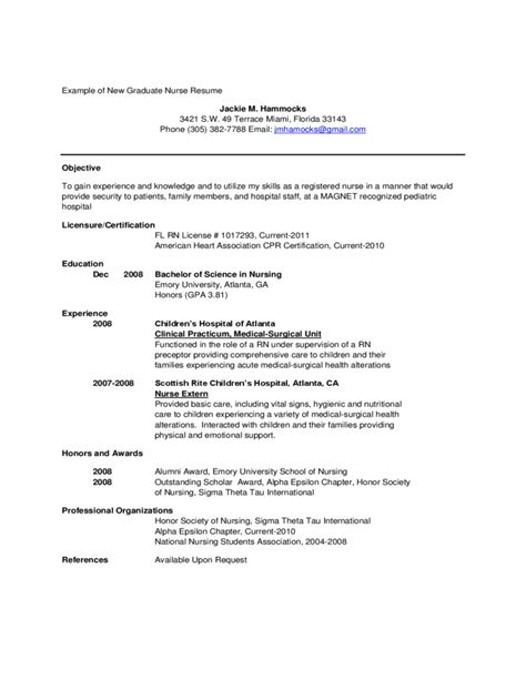 nursing resume for new graduates exle of new graduate resume free