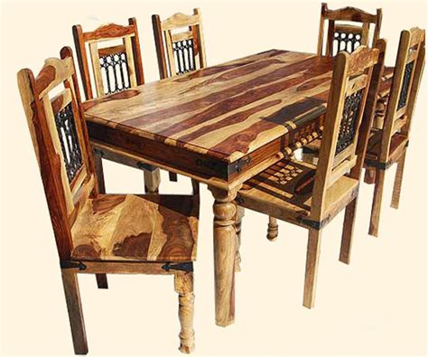classic solid wood 7pc dining room table and chair set