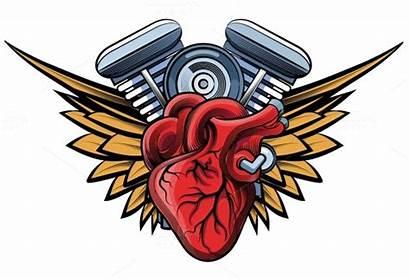 Motorcycle Wings Engine Vector Tatoo Bikers Badge