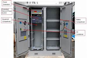 Solid Two Bay Telecom Cabinets Outdoor With Cooling    Monitoring System