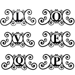 wrought iron metal scrolled monogram initial letter family house plaque decor ebay