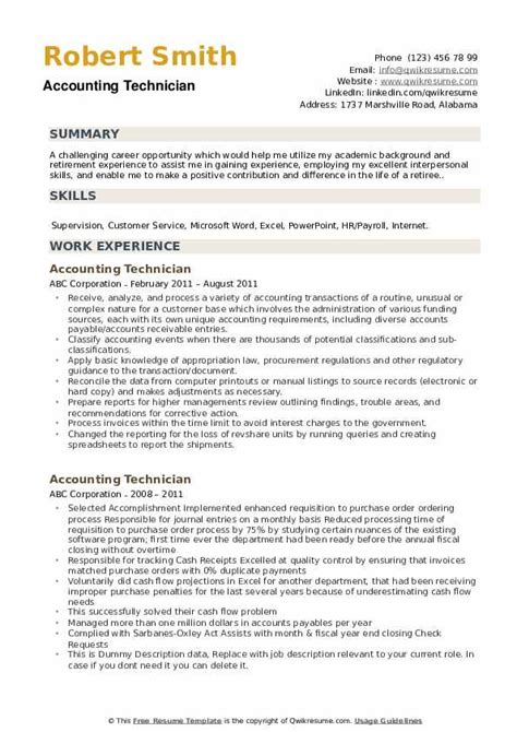 Retiree Resume Exles by Accounting Technician Resume Sles Qwikresume