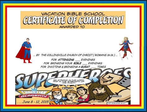vbs certificate vbs certificate capes vbs lesson handouts charts certificates posters etc