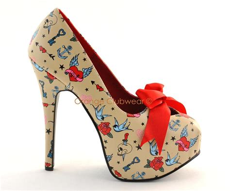 Pump Shoes : Pinup Rockabilly Tattoo Print Cream High Heels Shoes