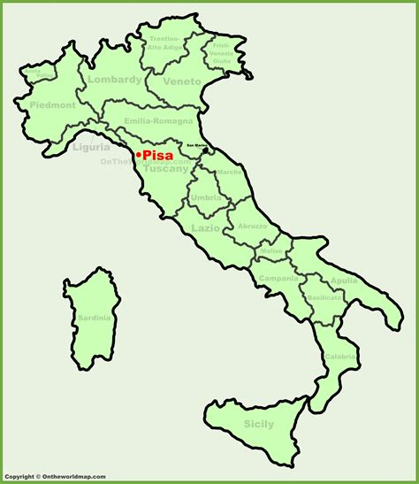 pisa location on the italy map
