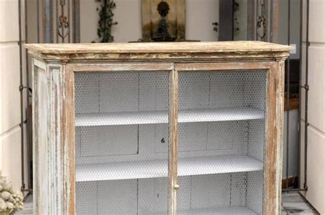 French Mid 19th Century Painted Cabinet with Chicken Wire