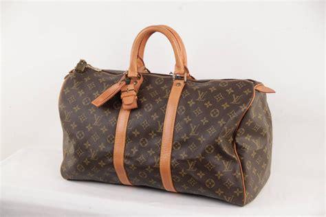 louis vuitton vintage brown monogram canvas keepall  duffle bag travel  stdibs