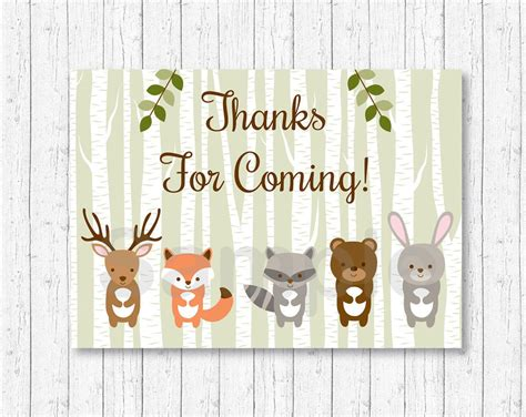 animal thank you card template woodland animals favor thank you tags ebay