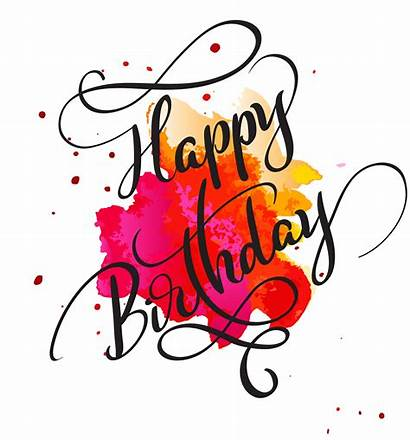 Birthday Happy Text Calligraphy Watercolor Illustration Lettering