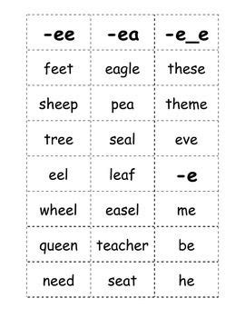 Here Is A List Of Words With The Long E Sound That Kids Can Play Games With This Document
