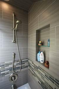 salle de bain avec douche italienne en quelques idees deco With carrelage adhesif salle de bain avec led tube light