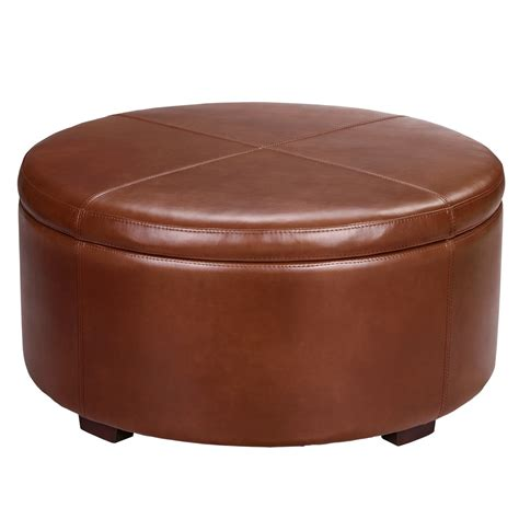 small round storage ottoman furniture round brown leather ottoman coffee table with