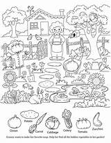 Hidden Objects Coloring Pages Printable Garden Object Printables Worksheets Puzzles Colouring Preschool Veggies Sketchite Etsy Games Items Books Sheets Hide sketch template