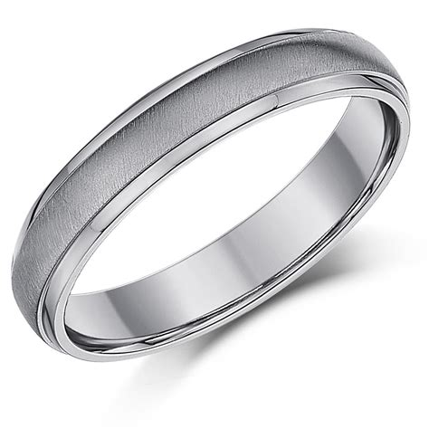titanium wedding ring band brushed matt polished mens