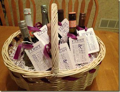 Wine Basket Shower Gift - small bottles bottle and dinner on
