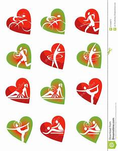 Fitness icons heart shape stock vector. Image of medical ...