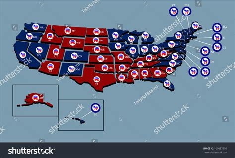 Us States User Selectable Colors Red Stock Vector