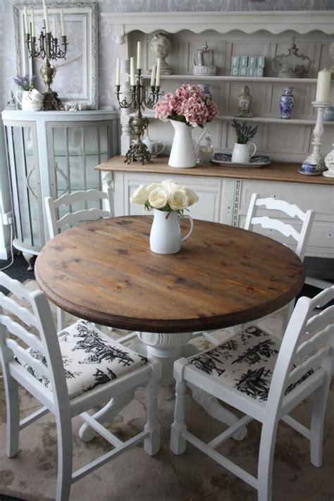 comedor redondo blanco  cubierta color madera muy