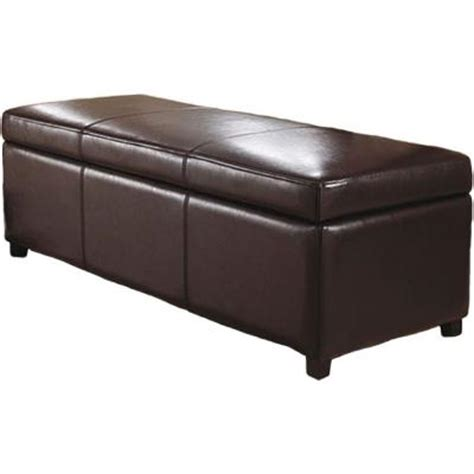large brown faux leather ottoman simpli home avalon large rectangular faux leather storage