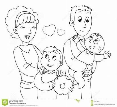 Coloring Father Mother Illustration Son Vector Drawing