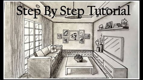 draw  living room   point perspective step