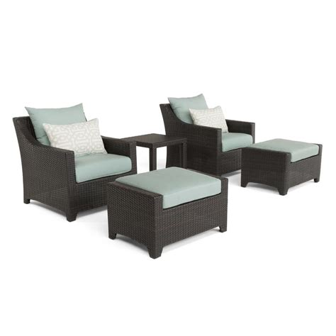 patio chairs with ottoman rst brands deco 5 piece all weather wicker patio club