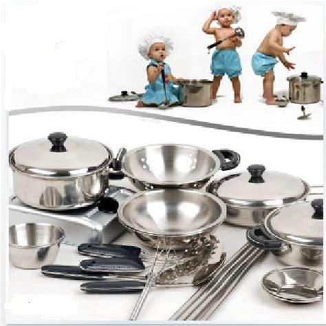 jouer de cuisine pas cher 18 conjunto enfants enfants en acier inoxydable