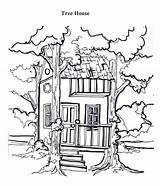 Tree Template Coloring Pages Treehouse Printable sketch template